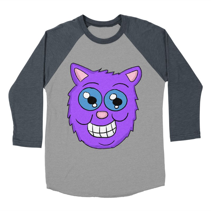 Grinning Purple Cat face Women's Baseball Triblend T-Shirt by ericallen's Artist Shop