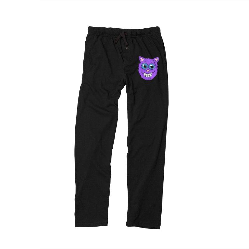 Grinning Purple Cat face Men's Lounge Pants by ericallen's Artist Shop
