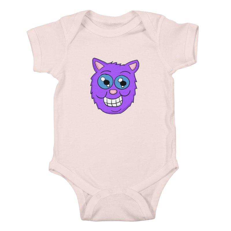 Grinning Purple Cat face Kids Baby Bodysuit by ericallen's Artist Shop