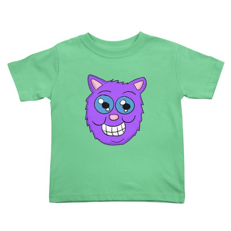 Grinning Purple Cat face Kids Toddler T-Shirt by ericallen's Artist Shop