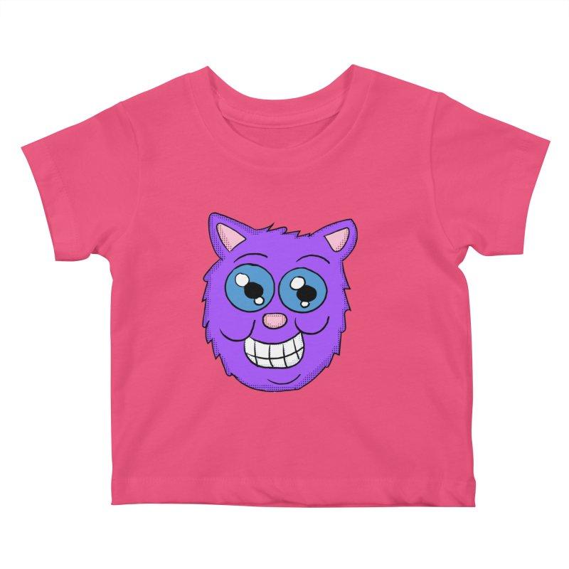 Grinning Purple Cat face Kids Baby T-Shirt by ericallen's Artist Shop
