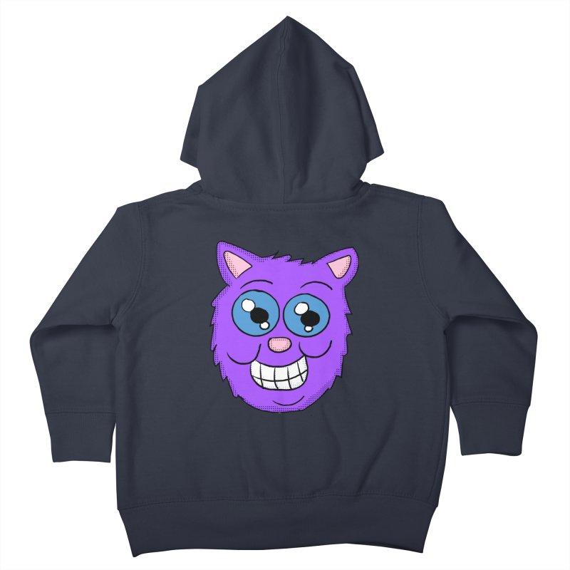 Grinning Purple Cat face Kids Toddler Zip-Up Hoody by ericallen's Artist Shop