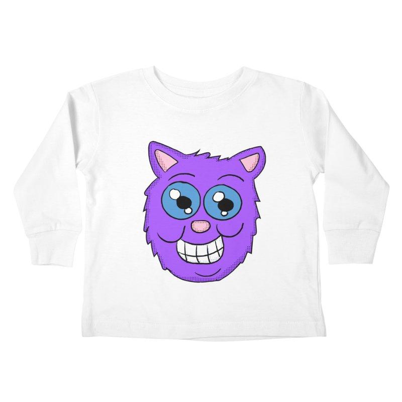 Grinning Purple Cat face Kids Toddler Longsleeve T-Shirt by ericallen's Artist Shop