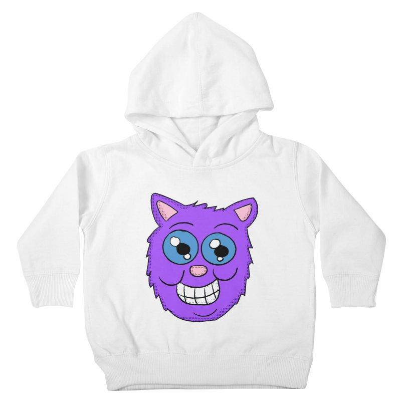 Grinning Purple Cat face Kids Toddler Pullover Hoody by ericallen's Artist Shop