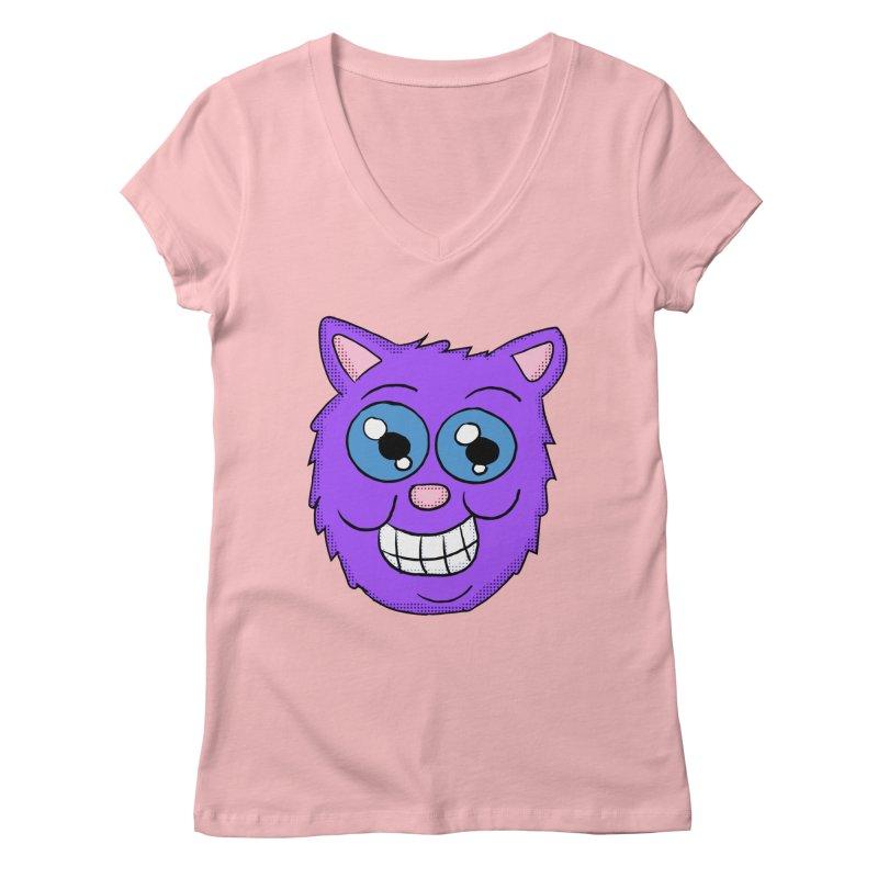 Grinning Purple Cat face Women's V-Neck by ericallen's Artist Shop