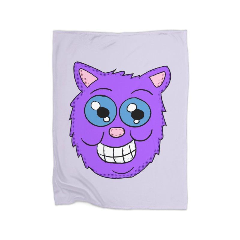 Grinning Purple Cat face Home Blanket by ericallen's Artist Shop