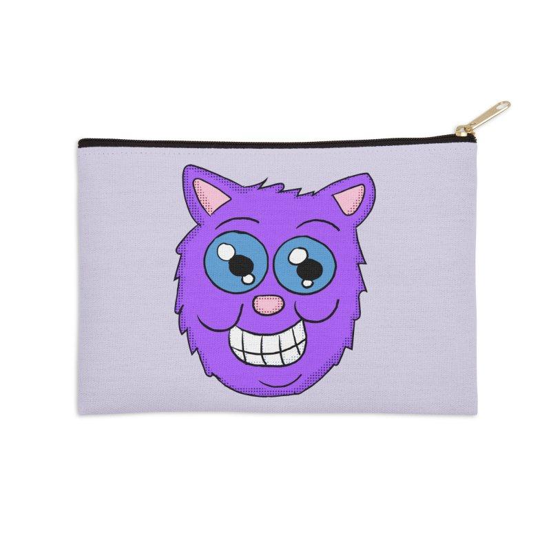 Grinning Purple Cat face Accessories Zip Pouch by ericallen's Artist Shop