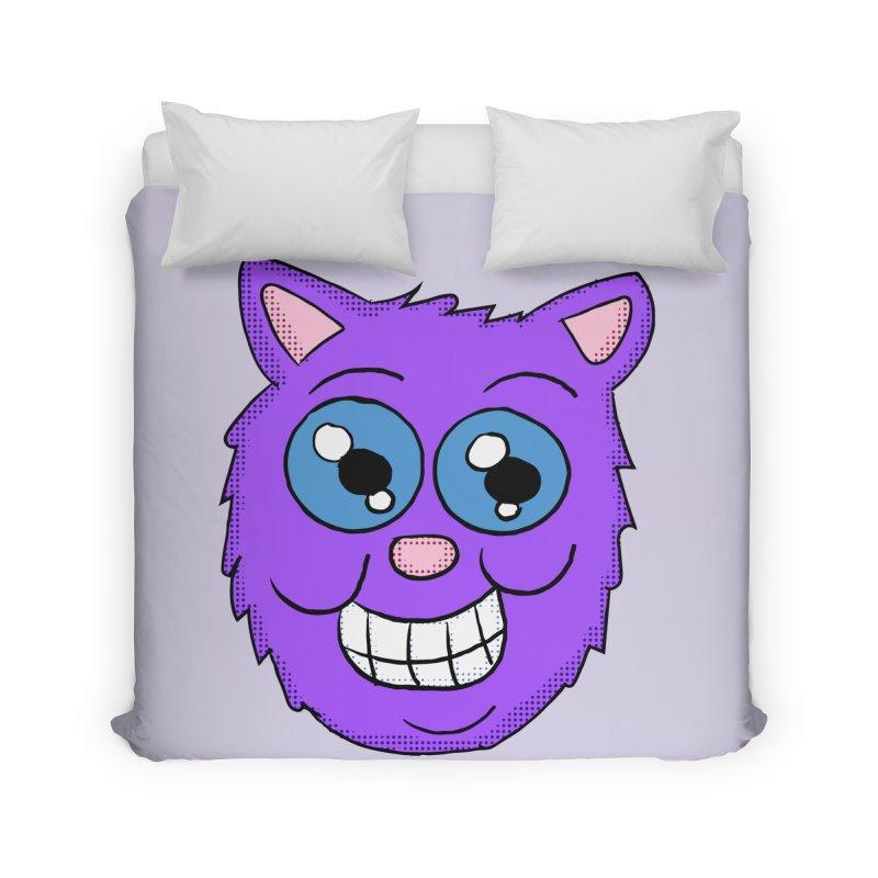Grinning Purple Cat face Home Duvet by ericallen's Artist Shop