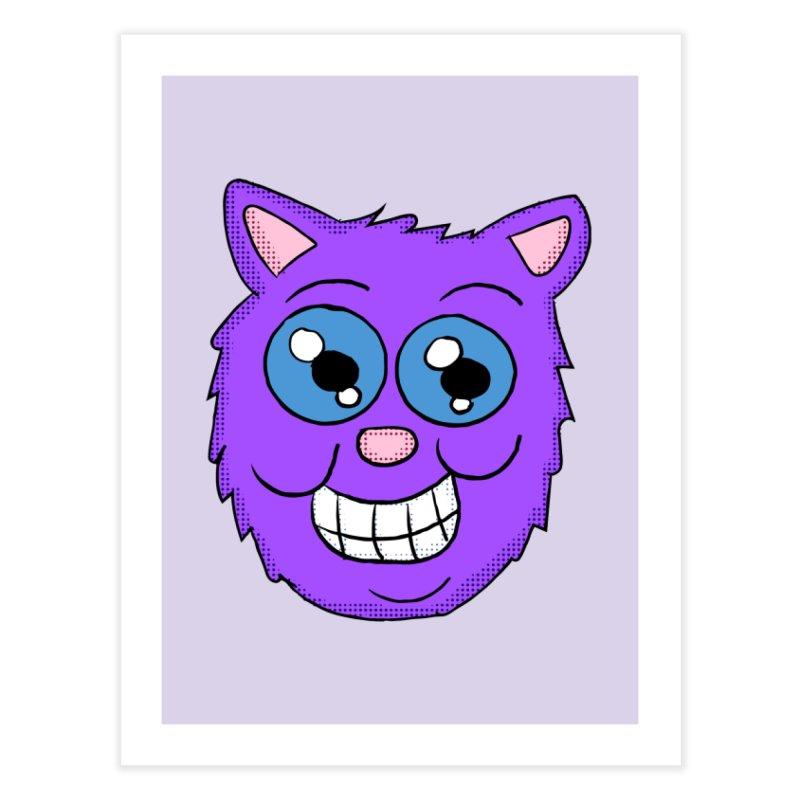 Grinning Purple Cat face Home Fine Art Print by ericallen's Artist Shop