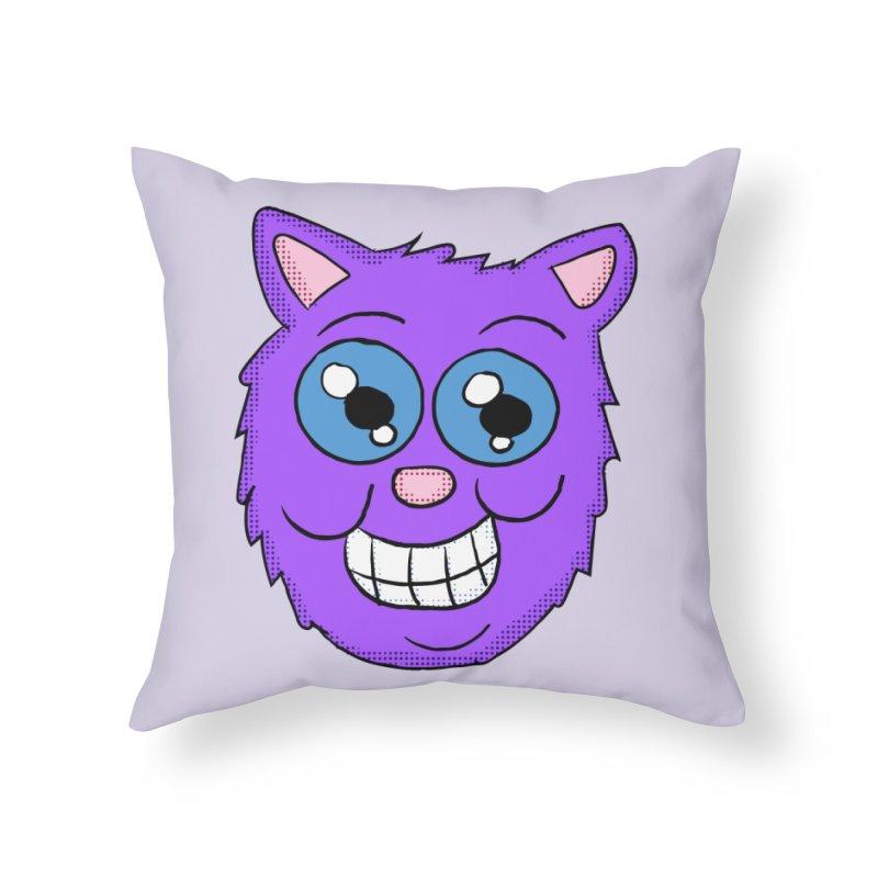 Grinning Purple Cat face Home Throw Pillow by ericallen's Artist Shop