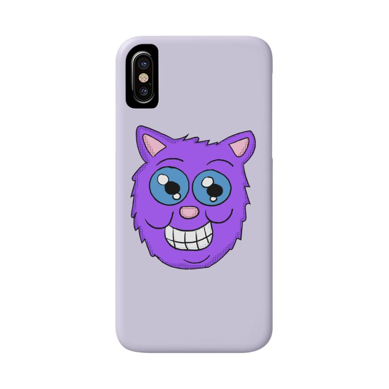 Grinning Purple Cat face Accessories Phone Case by ericallen's Artist Shop