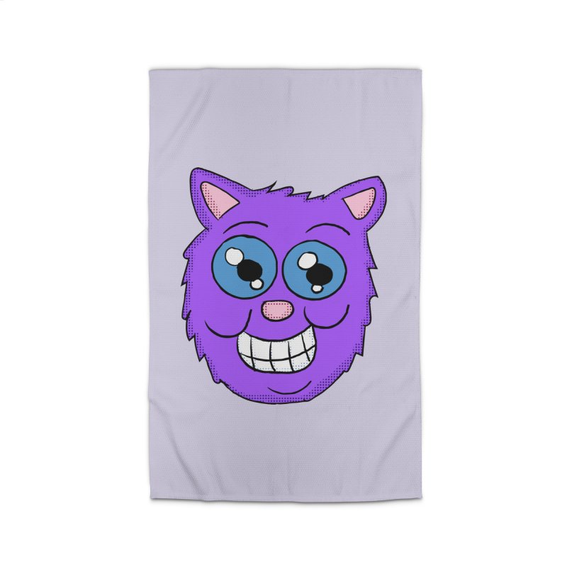 Grinning Purple Cat face Home Rug by ericallen's Artist Shop