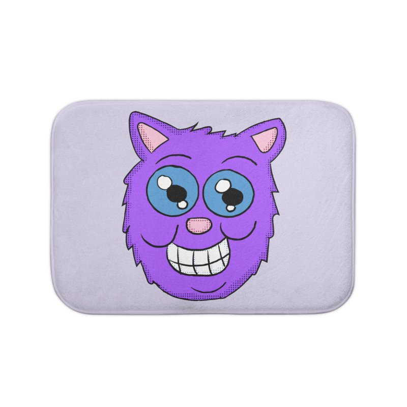 Grinning Purple Cat face Home Bath Mat by ericallen's Artist Shop