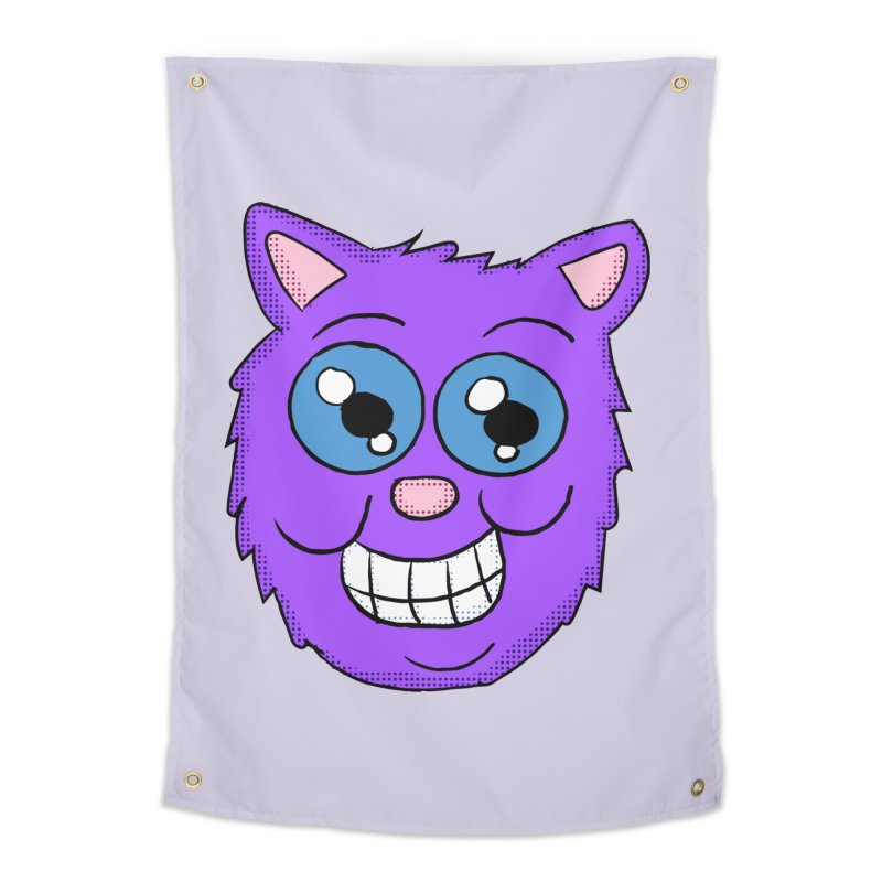 Grinning Purple Cat face Home Tapestry by ericallen's Artist Shop