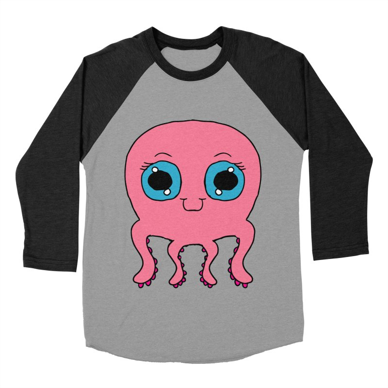 Chibi Pink Octopus Women's Baseball Triblend T-Shirt by ericallen's Artist Shop
