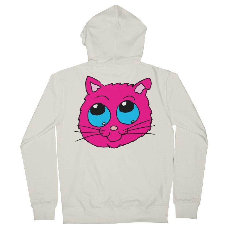 Pink Cute Kitty Head Men's Zip-Up Hoody by ericallen's Artist Shop