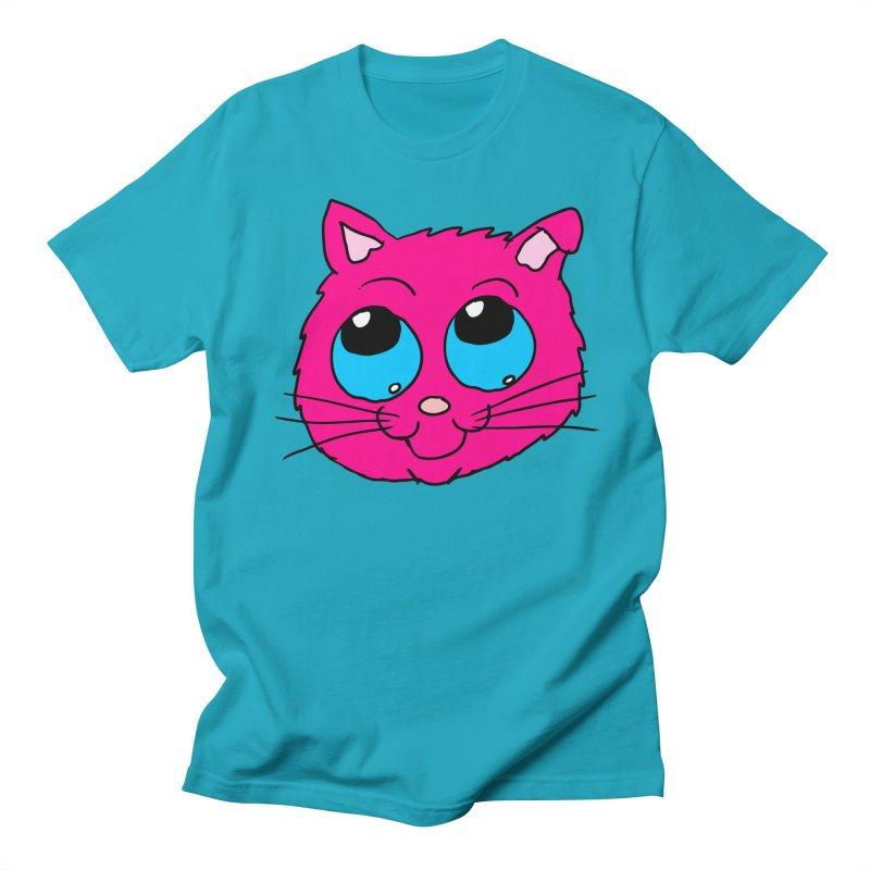 Pink Cute Kitty Head Men's T-Shirt by ericallen's Artist Shop
