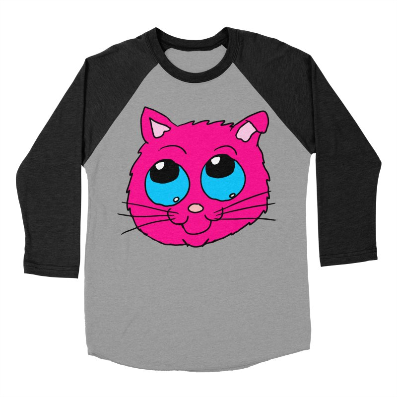 Pink Cute Kitty Head Women's Baseball Triblend T-Shirt by ericallen's Artist Shop