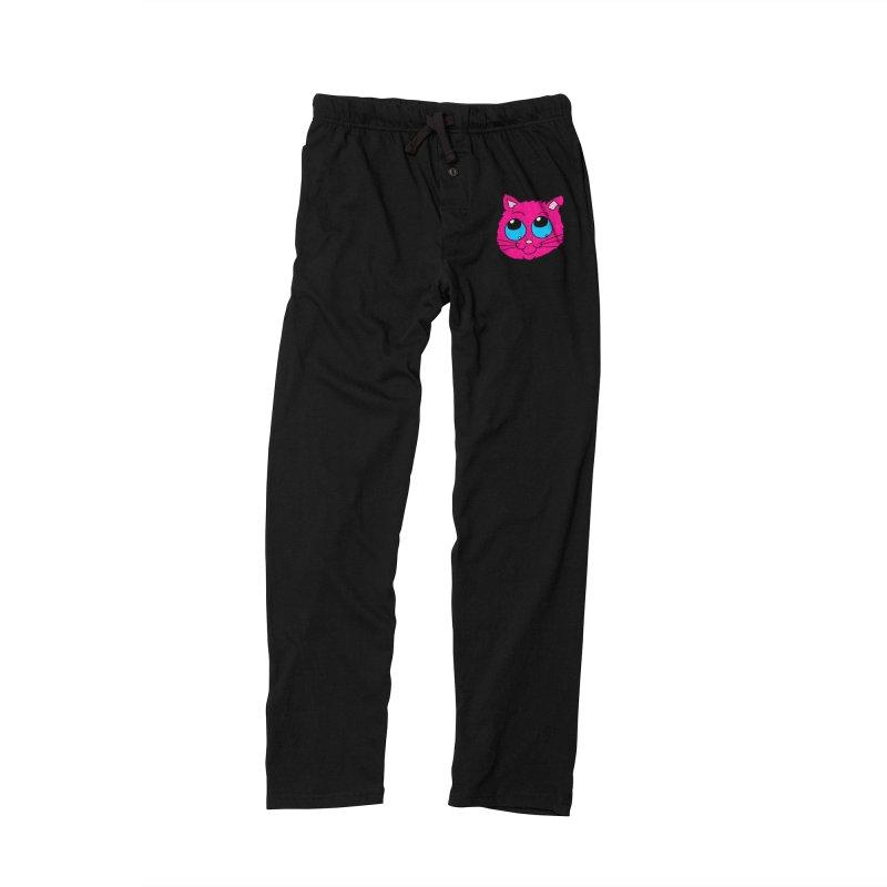 Pink Cute Kitty Head Men's Lounge Pants by ericallen's Artist Shop