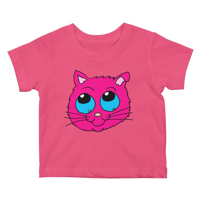 Pink Cute Kitty Head Kids Baby T-Shirt by ericallen's Artist Shop
