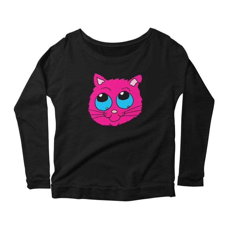 Pink Cute Kitty Head Women's Longsleeve Scoopneck  by ericallen's Artist Shop
