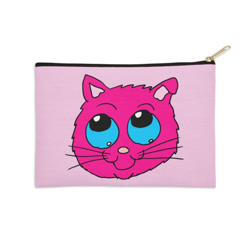 Pink Cute Kitty Head Accessories Zip Pouch by ericallen's Artist Shop