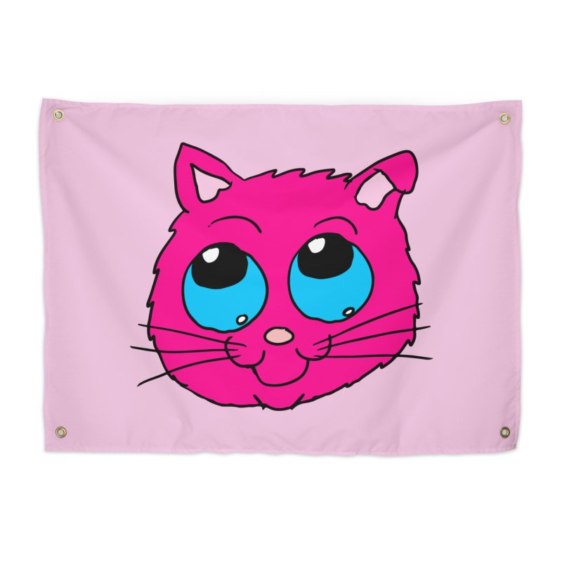 Pink Cute Kitty Head Home Tapestry by ericallen's Artist Shop