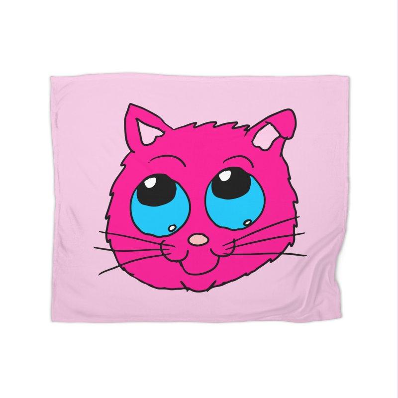 Pink Cute Kitty Head Home Blanket by ericallen's Artist Shop