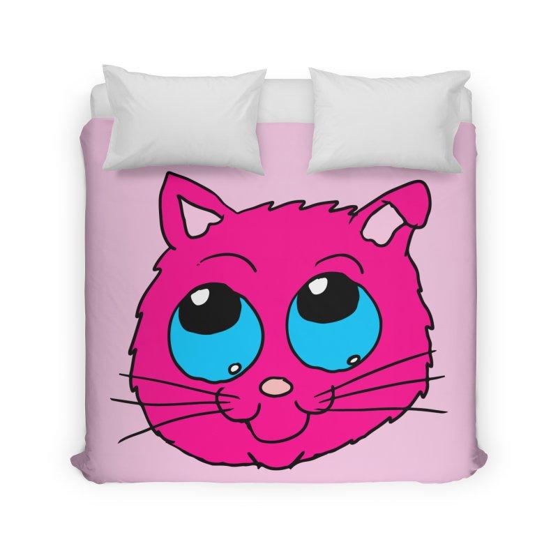 Pink Cute Kitty Head Home Duvet by ericallen's Artist Shop