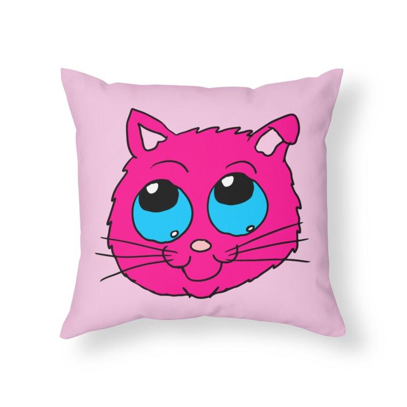 Pink Cute Kitty Head Home Throw Pillow by ericallen's Artist Shop