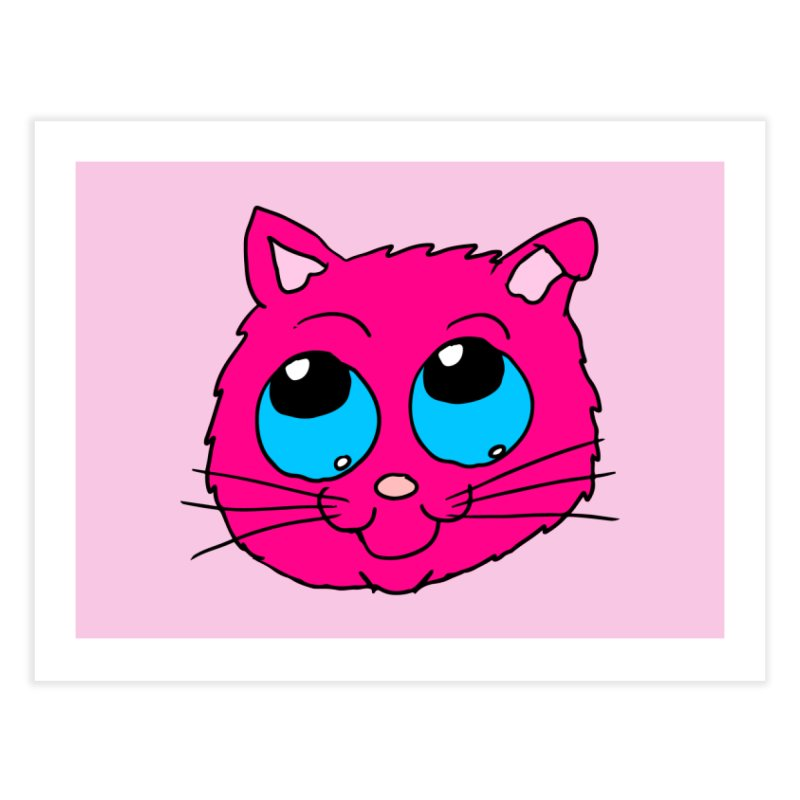 Pink Cute Kitty Head Home Fine Art Print by ericallen's Artist Shop