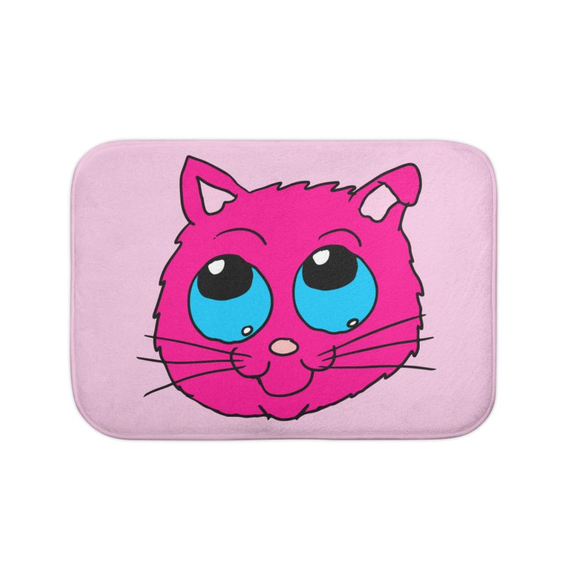 Pink Cute Kitty Head Home Bath Mat by ericallen's Artist Shop