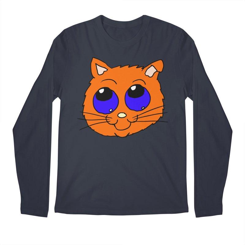 Orange Cute kitty Head Men's Longsleeve T-Shirt by ericallen's Artist Shop