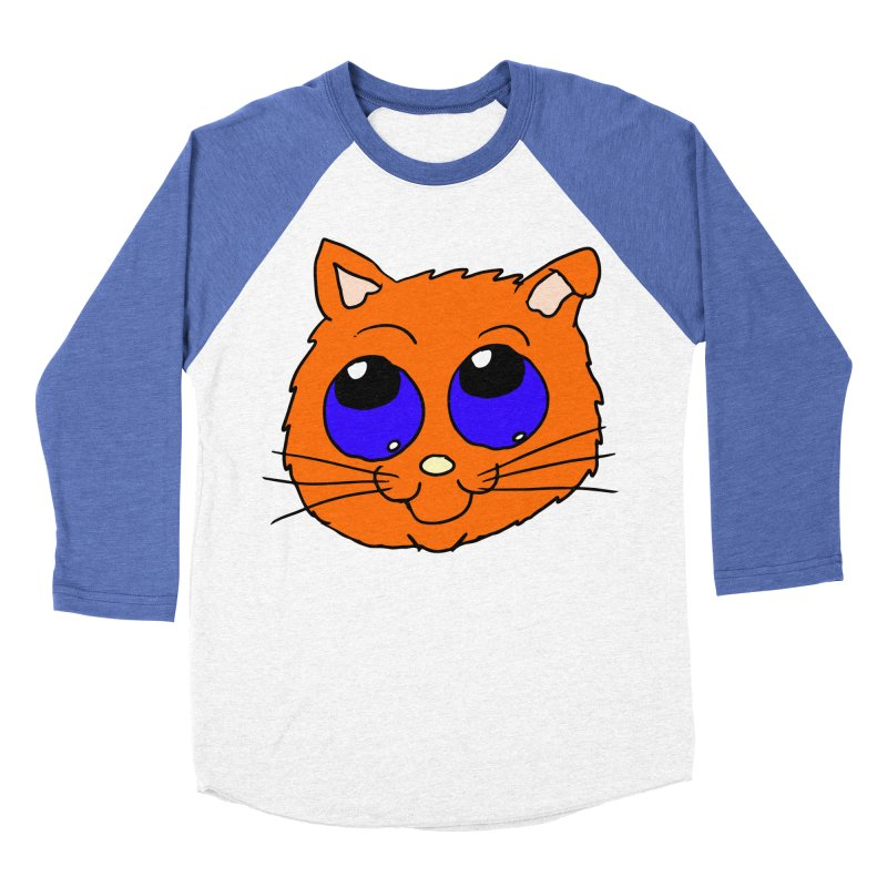 Orange Cute kitty Head Women's Baseball Triblend T-Shirt by ericallen's Artist Shop