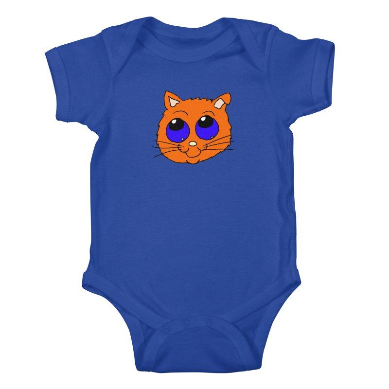 Orange Cute kitty Head Kids Baby Bodysuit by ericallen's Artist Shop