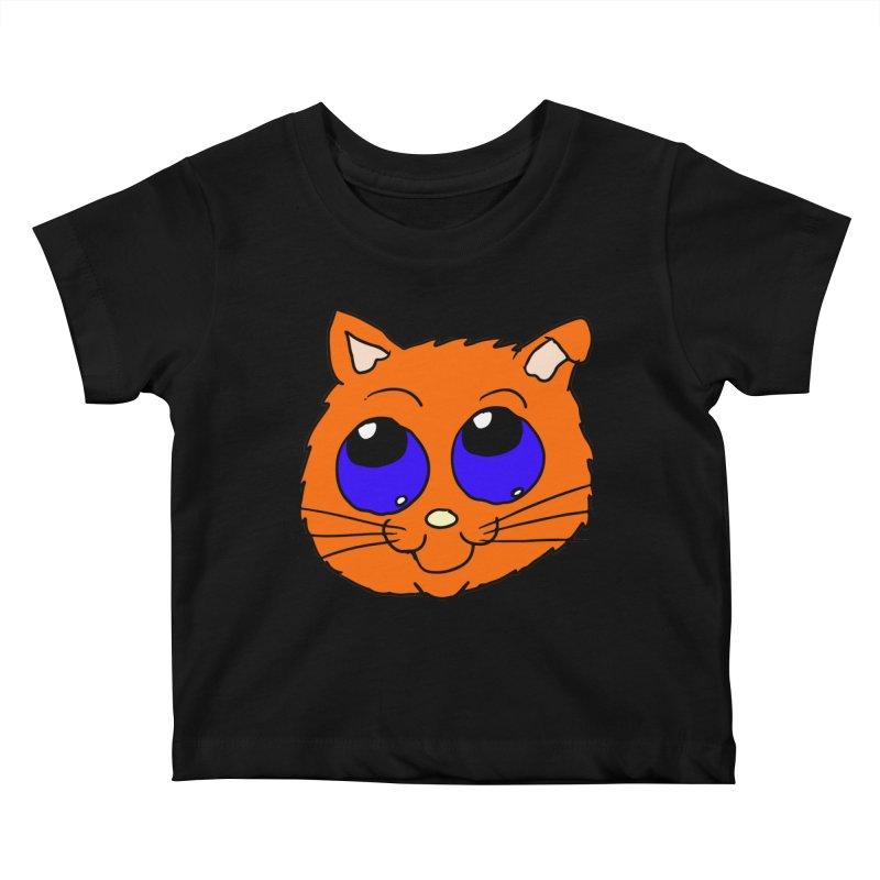 Orange Cute kitty Head Kids Baby T-Shirt by ericallen's Artist Shop
