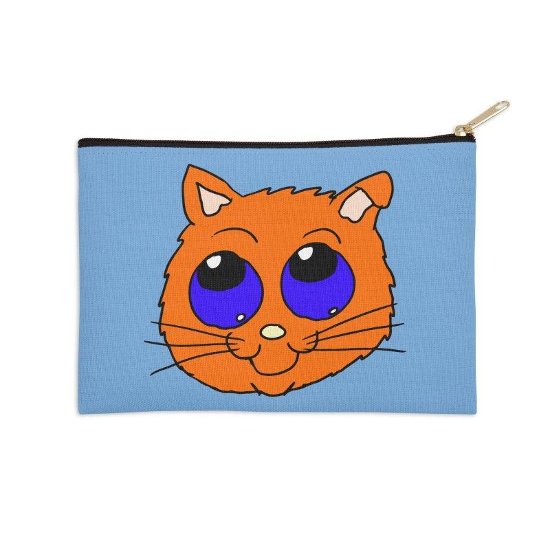 Orange Cute kitty Head Accessories Zip Pouch by ericallen's Artist Shop