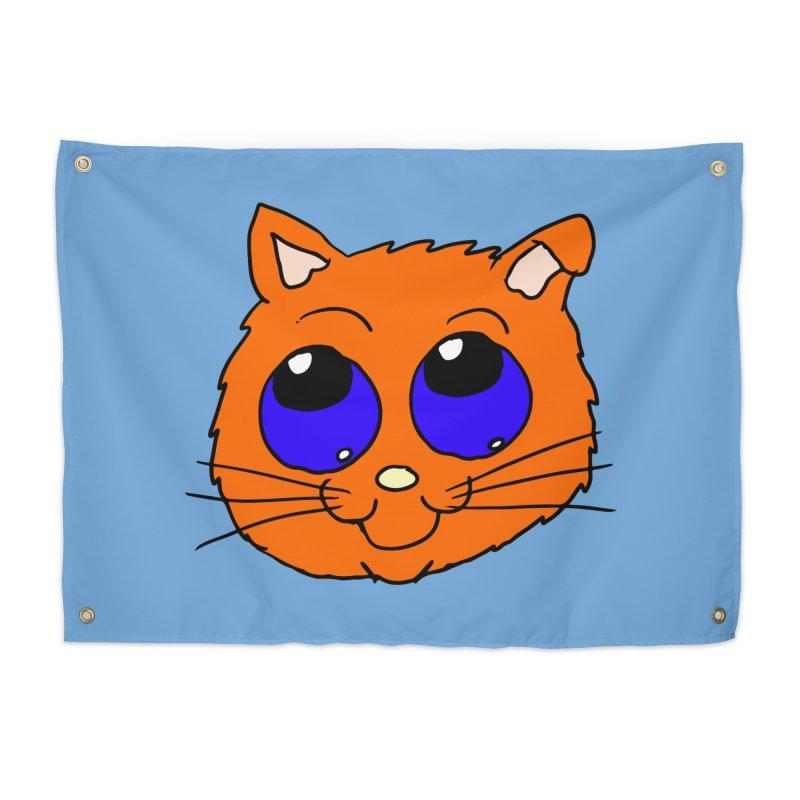 Orange Cute kitty Head Home Tapestry by ericallen's Artist Shop