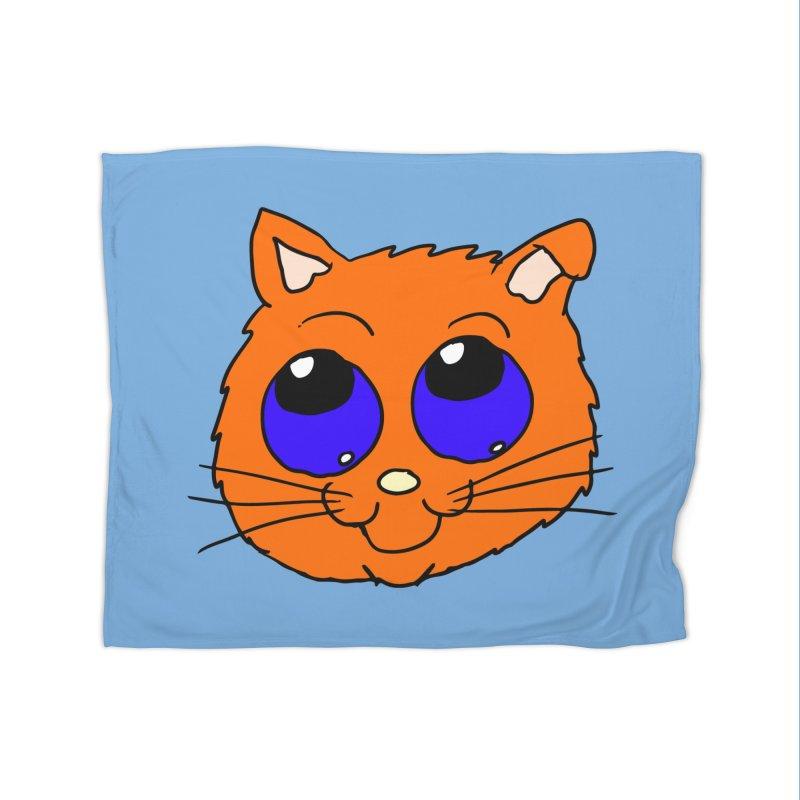 Orange Cute kitty Head Home Blanket by ericallen's Artist Shop