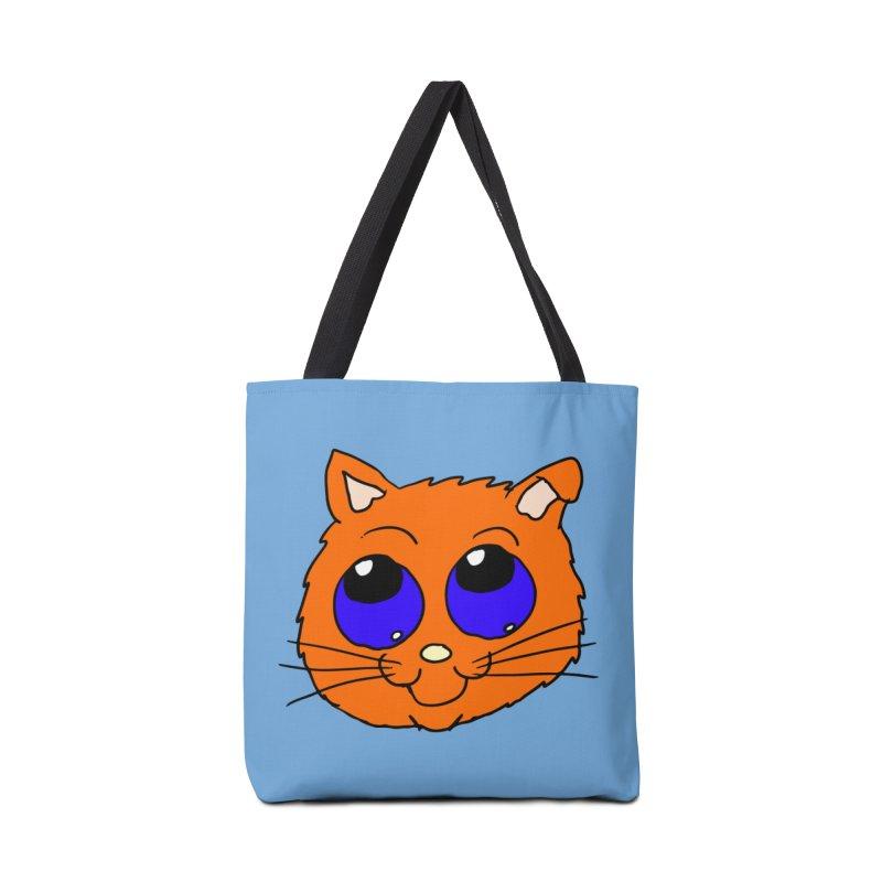 Orange Cute kitty Head Accessories Bag by ericallen's Artist Shop