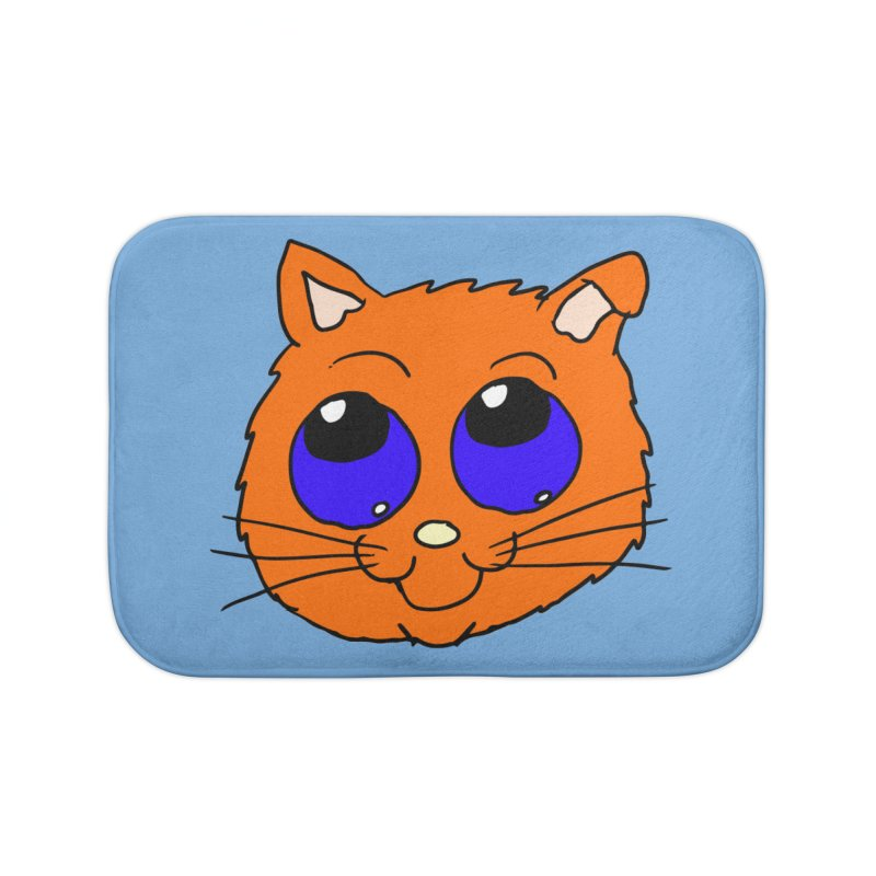 Orange Cute kitty Head Home Bath Mat by ericallen's Artist Shop