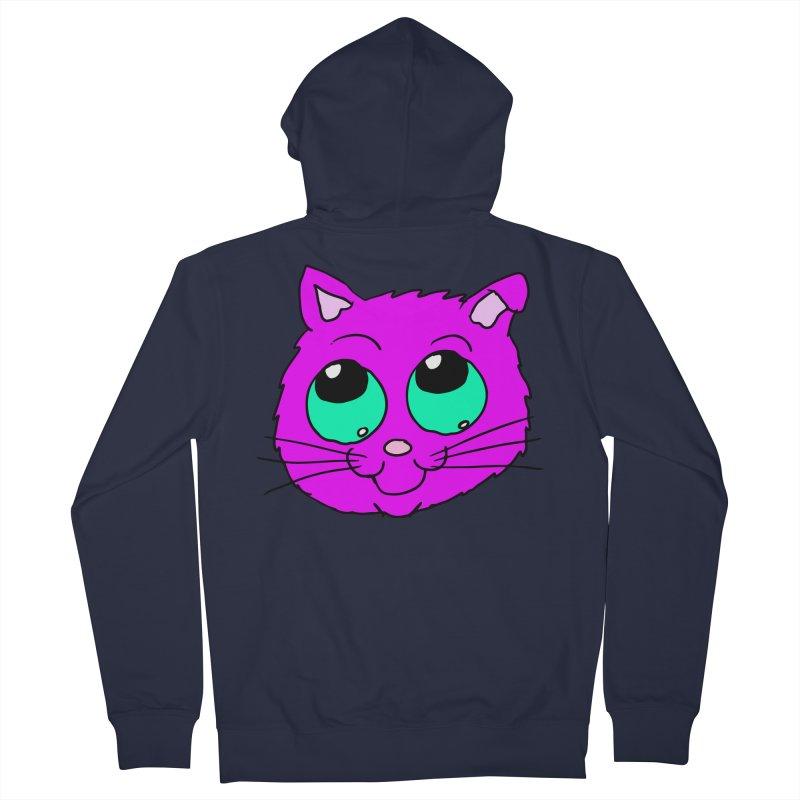 Green eyed Purple kitty head Men's Zip-Up Hoody by ericallen's Artist Shop