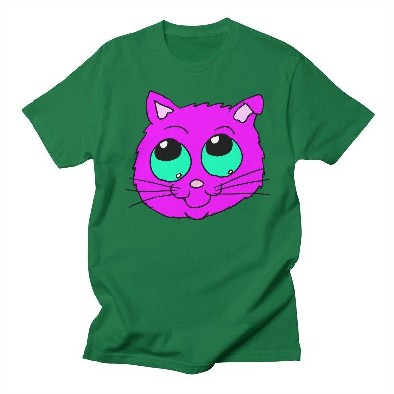Green eyed Purple kitty head Men's T-Shirt by ericallen's Artist Shop