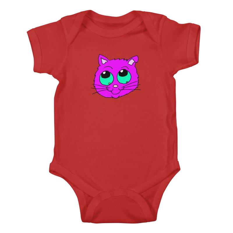Green eyed Purple kitty head Kids Baby Bodysuit by ericallen's Artist Shop