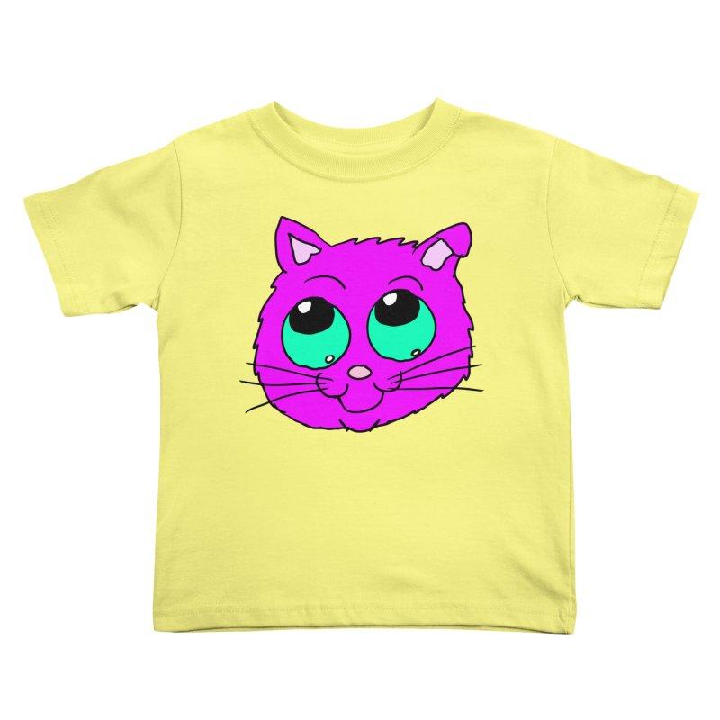 Green eyed Purple kitty head Kids Toddler T-Shirt by ericallen's Artist Shop