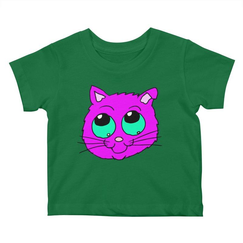 Green eyed Purple kitty head Kids Baby T-Shirt by ericallen's Artist Shop