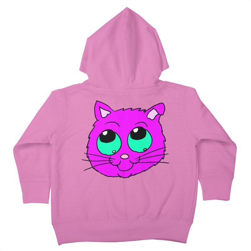 Green eyed Purple kitty head Kids Toddler Zip-Up Hoody by ericallen's Artist Shop