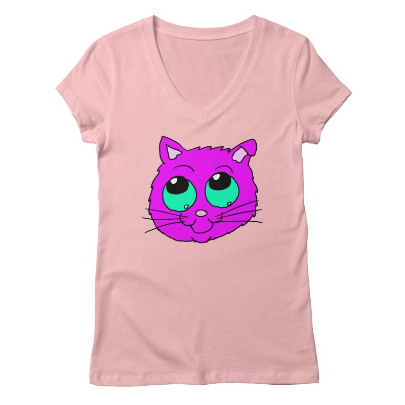 Green eyed Purple kitty head Women's V-Neck by ericallen's Artist Shop