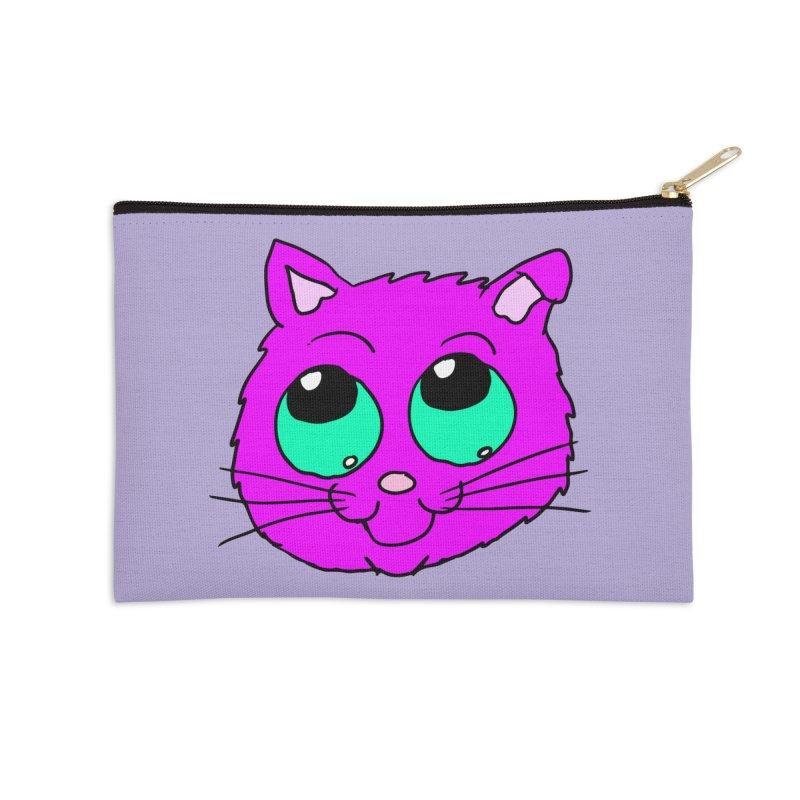 Green eyed Purple kitty head Accessories Zip Pouch by ericallen's Artist Shop