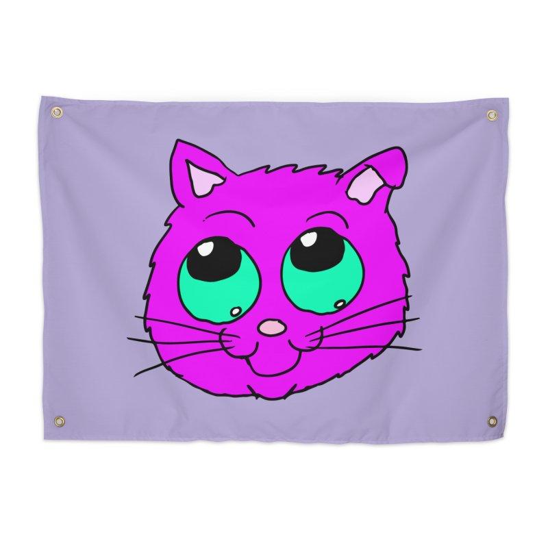 Green eyed Purple kitty head Home Tapestry by ericallen's Artist Shop